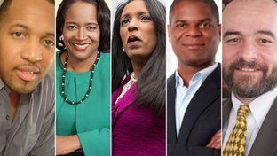 (L-R) Greg Harrington, Sheryl Cole, state Rep. Dawnna Dukes, D-Austin, Nnamdi Orakwue and Chito Vela.
