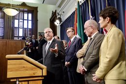 Sen. Larry Taylor discusses school choice legislation during a press conference on Jan. 25, 2017.