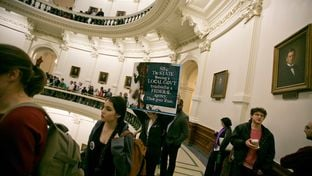 Crowds inside the Texas Capitol on day where SB4, the sanctuary cities bill is brought up during the Senate State Affairs committee on Feb. 2, 2017