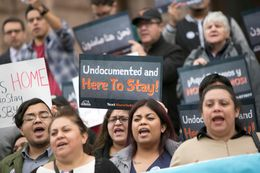 Critics of Senate Bill 4, a bill banning sanctuary cities, protest at the Texas Capitol as the bill is scheduled to be debated before the Senate State Affairs committee on Feb. 2, 2017.