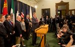 """Lt. Gov. Dan Patrick talks with the media during a press conference on SB 6, also known as the """"bathroom bill,"""" on Feb. 6, 2017."""