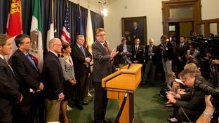 "Lt. Gov. Dan Patrick talks with the media during a press conference on SB 6, also known as the ""bathroom bill,"" on Feb. 6, 2017."