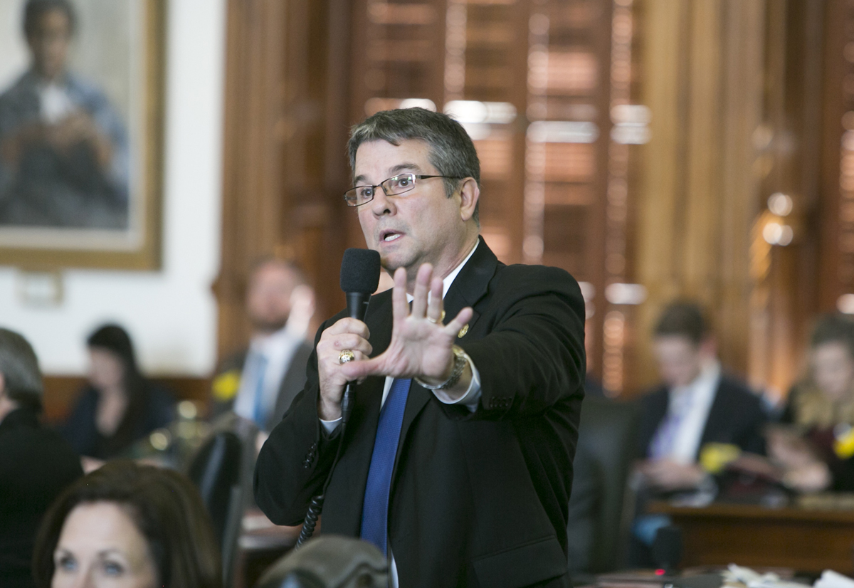 State Sen. Charles Perry, R-Lubbock, answers questions regarding Senate Bill 4, better known as the anti-