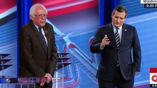 U.S. Sens. Bernie Sanders, I-Vermont, and Ted Cruz, R-Texas, debate the future of Obamacare on CNN on Feb. 7, 2017.