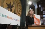 """State Rep. Donna Howard, D-Austin, stands with House colleagues to announce the """"Trust. Respect. Access."""" campaign for reproductive rights on Feb. 8, 2017."""