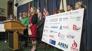 State Rep. Stephanie Klick, R-North Richland Hills, with State Rep. Donna Howard, D-Austin, announcing the Coalition for Health Care Access  that will work toward expanding access to health care in Texas this legislative session.  Klick is introducing HB 1415 and SB 681 to remove outdated and costly regulatory barriers for APRN nurses.