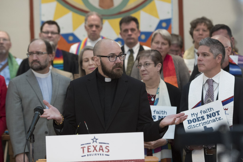 Rev. S. David Wynn of Fort Worth, who identifies as a transgender male, speaks at a press conference on Feb. 9, 2017.