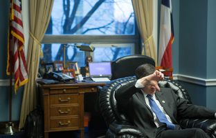 U.S. Rep. Jeb Hensarling, R-Dallas, signals possible opposition in his office on Capitol Hill in Washington, D.C., on Feb. 13, 2017.