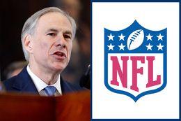 Gov. Greg Abbott and the official NFL logo.