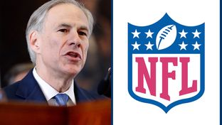 Gov. Greg Abbott and the official NFL logo.