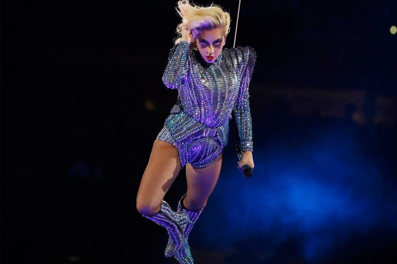 Singer Lady Gaga performs during the halftime show at Super Bowl LI between the New England Patriots and the Atlanta Falcons in Houston on Feb. 5, 2017.