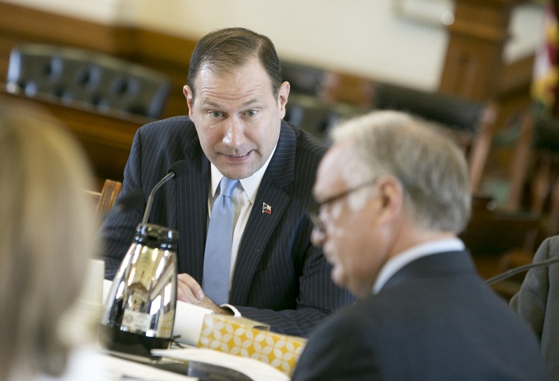 Sen. Charles Schwertner R-Georgetown listens to questions asked by Sen. Kirk Watson D-Austin during a February 15, 2017 Senate Committee on Health and Human Services