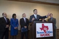 Dallas Mayor Mike Rawlings was among a group of Texas mayors at a Feb. 17, 2017, news conference discussing their unified agenda in working with the 85th Texas Legislature.