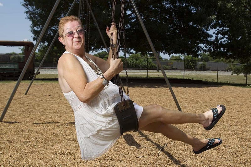 Norma McCorvey, the anonymous plaintiff known as Jane Roe in the Supreme Court's landmark 1973 Roe vs. Wade ruling legalizing abortion in the United States, swings in a Smithville park on July 15, 2011.