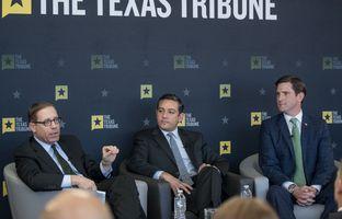 César Blanco, D-El Paso, and Brooks Landgraf, R-Odessa, have a conversation at a Texas Tribune event with Evan Smith. Feb 17, 2017.