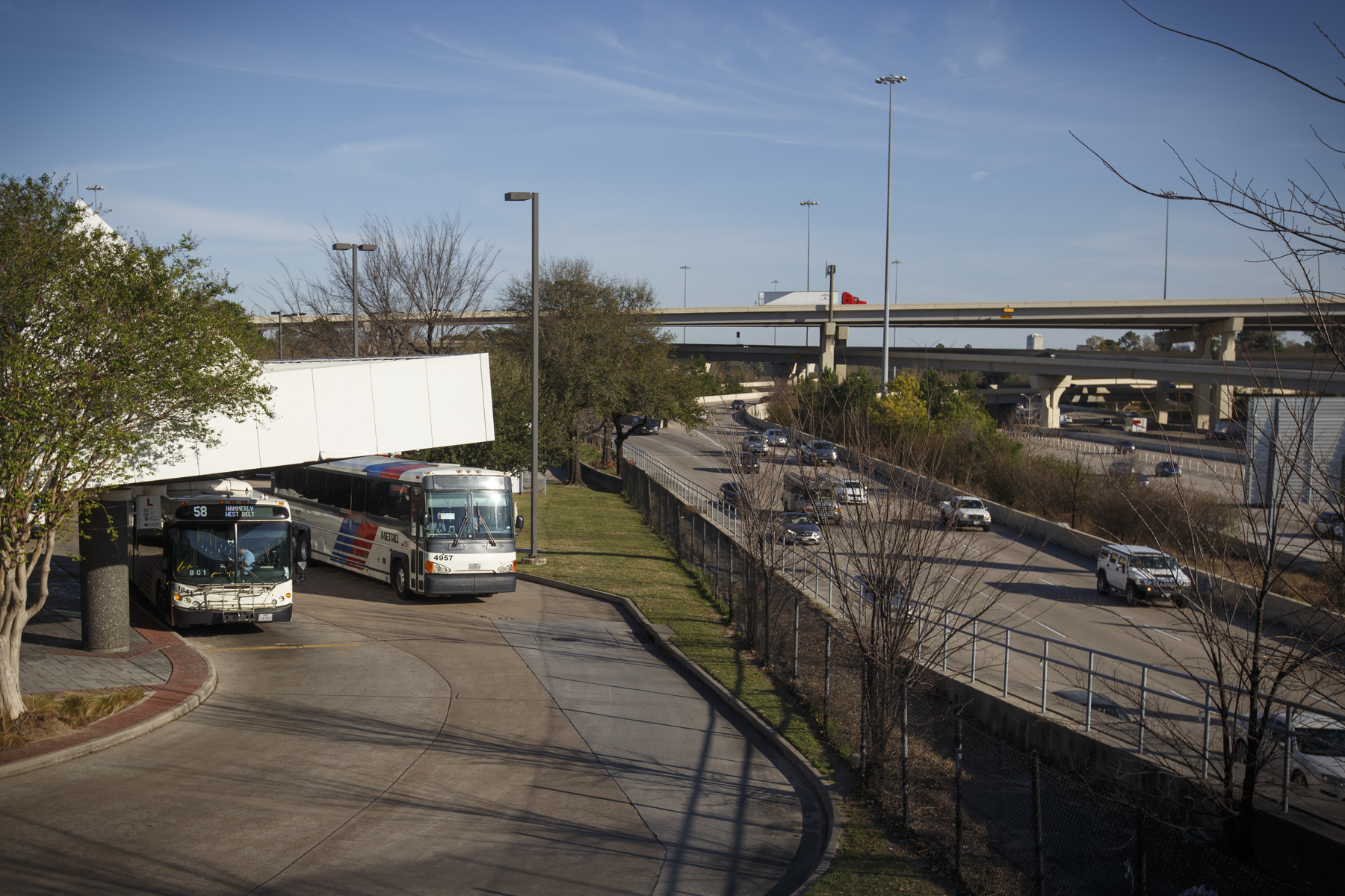 The Northwest Transit Center, a Houston park-and-ride where several bus stops converge, and a possible location for the proposed high-speed rail line from Dallas, on February 16, 2017.