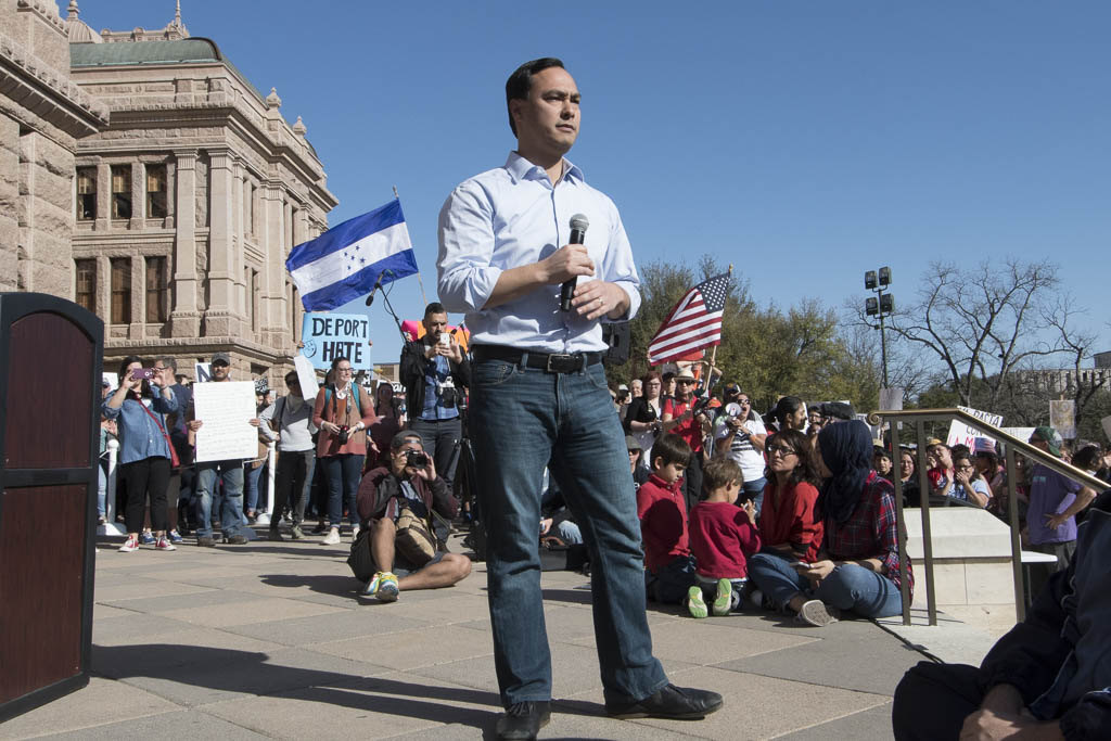 Congressman Joaquin Castro, D-San Antonio, speaks to thousands gathered at the Texas Capitol for the #NoBanNoWall rally Saturday, Feb. 25, 2017 at the Texas Capitol.