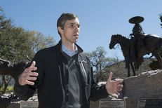 U.S. Congressman Beto O'Rourke, D-El  Paso, stands at the Mexican-American Heritage Monument at the Texas Capitol prior to the NoBanNoWall rally on Feb. 25, 2017.  Thousands of protesters were expected to voice opposition to President Donald Trump's immigration plans.