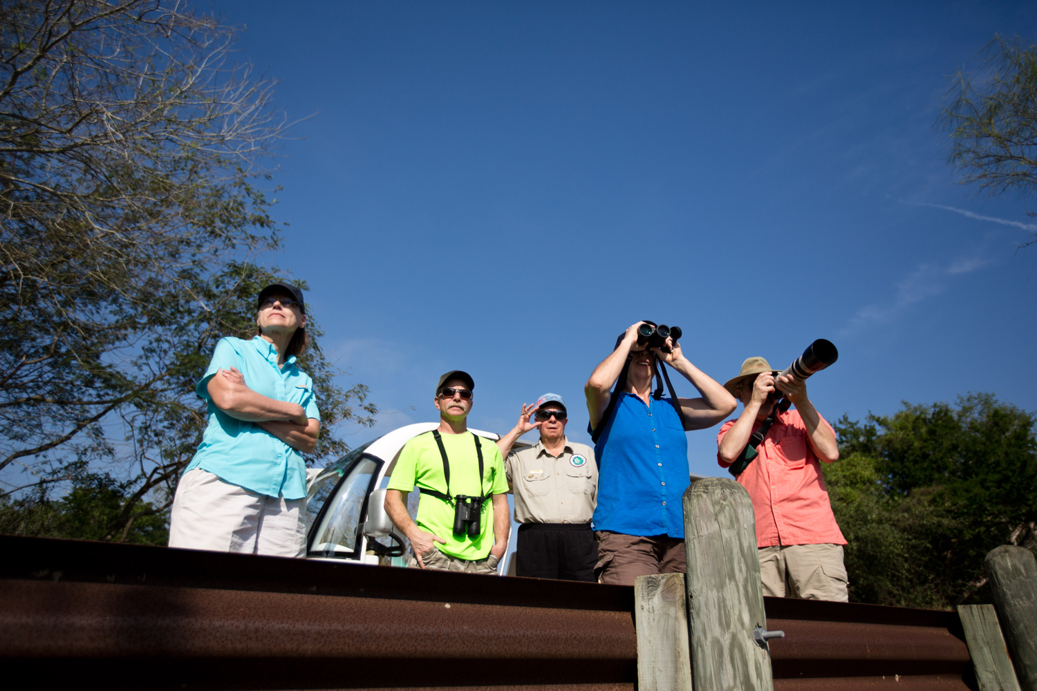 A group of Wisconsinites on the lookout for birds and other wildlife at Resaca de la Palma State Park and World Birding Center in the Lower Rio Grande Valley. The region is one of the preeminent birding locales in the Unites States.