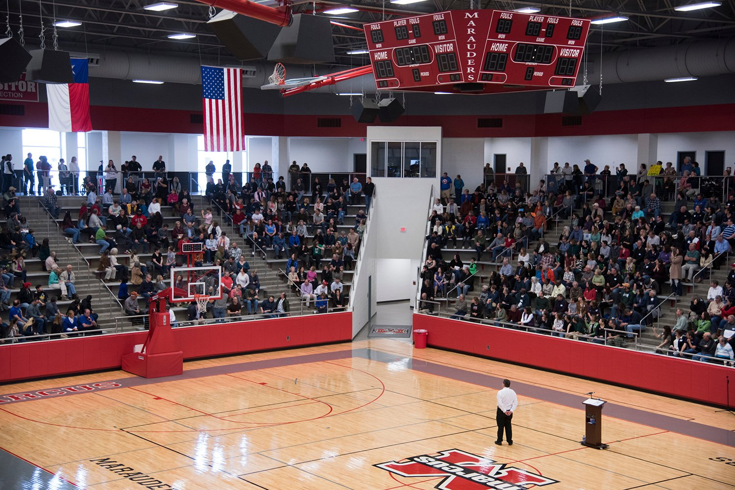 People fill the gym at Flower Mound Marcus High School for a town hall meeting held by U.S. Rep. Michael C. Burgess, R-Lewisville, on March 4, 2017.