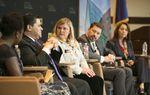 Texas Tribune's Aliyya Swaby interviews Richard Carranza, superintendent of the HISD, Courtney L. Boswell of Texas Aspires, Louis Malfaro, of Texas American Federation of Teachers and Theresa Trevino, of Texans Advocating for Meaningful Student Assessment during a daylong Texas Tribune symposium on public education in Houston Friday, March 3, 2017.