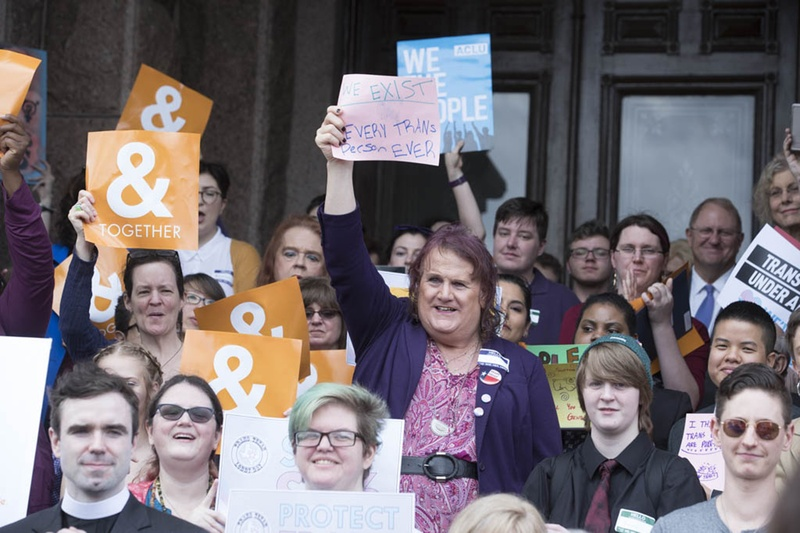 """Supporters turn out for Trans Texan Lobby Day 2017 at the state Capitol on March 6, 2017. It was a busy day with several events both opposing and supporting SB6, the so-called """"bathroom bill."""""""