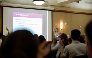 """Alicia Weigel, director of strategy and communications for former state Sen. Wendy Davis' organization, Deeds Not Words, speaks at the """"Not On My Campus"""" event held at UT-Austin on March 9, 2017."""