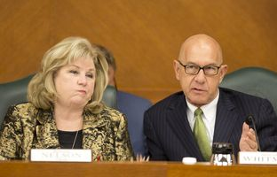 State Sens. Jane Nelson, R-Flower Mound, and John Whitmire, D-Houston, at a hearing on Senate Bill 2 on March 14, 2017.