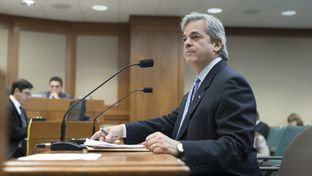 Austin Mayor Steve Adler testifies against HB 100 that would make uniform statewide rules for transportation network companies (TNC's) during a House committee hearing on March 16, 2017.