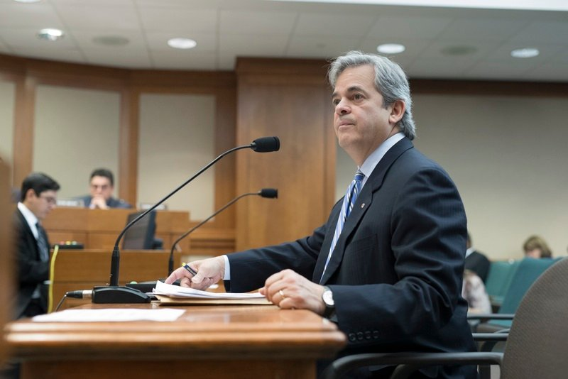 Austin Mayor Steve Adler testifies during a House committee hearing over a bill that would pre-empt local regulations on ride-hailing companies on March 16, 2017.