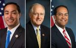 (L-R) U.S. Reps. Joaquin Castro, D-San Antonio, Mike Conaway, R-Midland and Will Hurd, R-Elotes all serve on theHouse Permanent Select Committee on Intelligence.