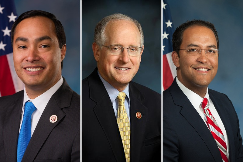 (L-R) U.S. Reps. Joaquin Castro, D-San Antonio, Mike Conaway, R-Midland and Will Hurd, R-Elotes all serve on the House Permanent Select Committee on Intelligence.