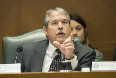 State Sen. Larry Taylor, R-Friendswood, chair of the Senate Education Committee, directs a witness during testimony on March 21, 2017.