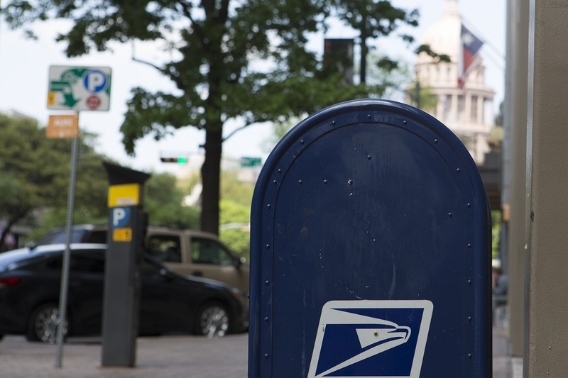 Post Office mailbox on Congress Avenue in Austin on March 22, 2017.