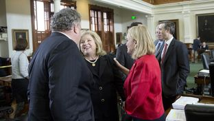 Sen. Jane Nelson R-Flower Mound celebrates after the budget bill passes unanimously on March 28, 2017