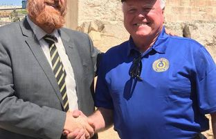 Agriculture Commissioner Sid Miller tours the Old City of Jerusalem with Israeli Knesset Member Yehuda Glick.