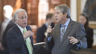 Sen. Kirk Watson, D-Austin, challenges sponsor Sen. Larry Taylor, R-Friendswood, with a question during debate on amendments to SB 3 school choice legislation up in the Senate on March 30, 2017. The original bill was modified greatly during an afternoon-long debate.