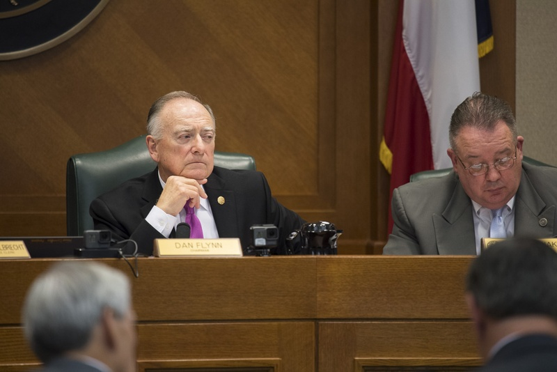 Chair of the House Pensions Committee State Rep. Dan Flynn, R-Van, with Chief of Staff David Erinakes listen to witnesses from Dallas testifying against HB 3158 regarding statewide pension funding problems on April 3, 2017.