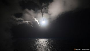 U.S. Navy guided-missile destroyer USS Porter (DDG 78) conducts strike operations in the Mediterranean Sea, which the U.S. Defense Department said was a part of cruise missile strike against Syria on April 7, 2017.