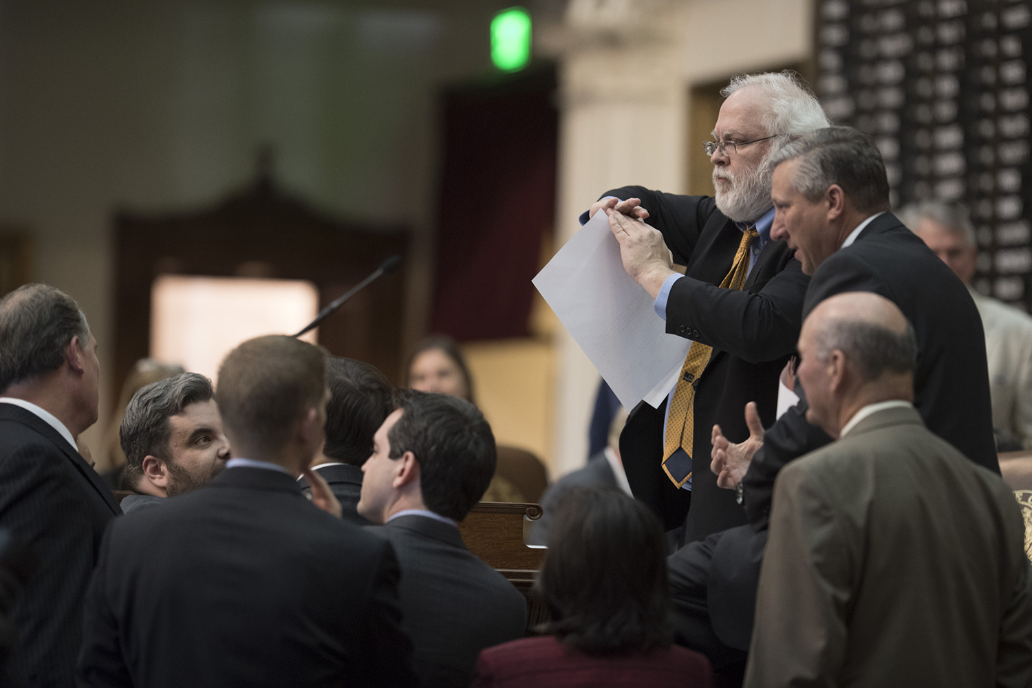 Perhaps the most heated moments of the debate arose between Stickland and Rep. Drew Springer, R-Muenster, over continued funding of a feral hog abatement program.  Here, House Parliamentarian Chris Griesel signals time out as tempers flare.