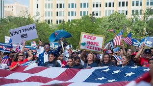 Thousands of demonstrators walked through downtown Dallas during an immigrants' rights march on April 9, 2017.