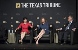 (L.-R.) State Reps. Gina Hinojosa, Donna Howard and state Sen. Kirk Watson at Austin Community College's Rio Grande Campus on april 10, 2017.