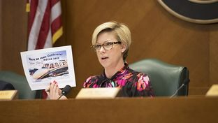 State Rep. Sarah Davis, R-West University Place, chairwoman of the Committee on General Investigating and Ethics, holds up a TABC flyer at a hearing on April 13, 2017.
