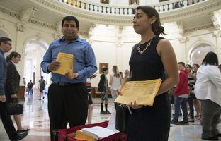 """Daniel Candelaria and Karla Perez of Houston visited the Texas Capitol on April 25, 2017, to express their opposition to Senate Bill 4, which would outlaw """"sanctuary cities."""""""