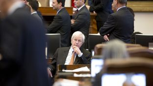 """State Rep. Charlie Geren, R-Ft. Worth, at the beginning of floor debate on Senate Bill 4 — the """"sanctuary cities"""" bill — on April 26, 2017."""