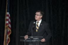 Lt. Gov. Dan Patrick speaks at the Harris County Republican Party's annual Lincoln-Reagan Dinner in Houston on April 28, 2017.