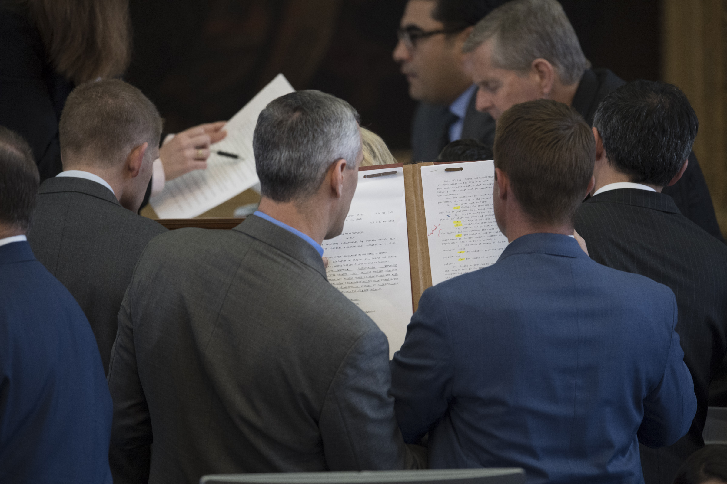 2:49 p.m.  State Reps. Matt Schaefer and Jeff Leach, both members of the conservative Texas Freedom Caucus looking at House bills as lawmakers settle in for a long day with a midnight deadline to pass bills out of the chamber.