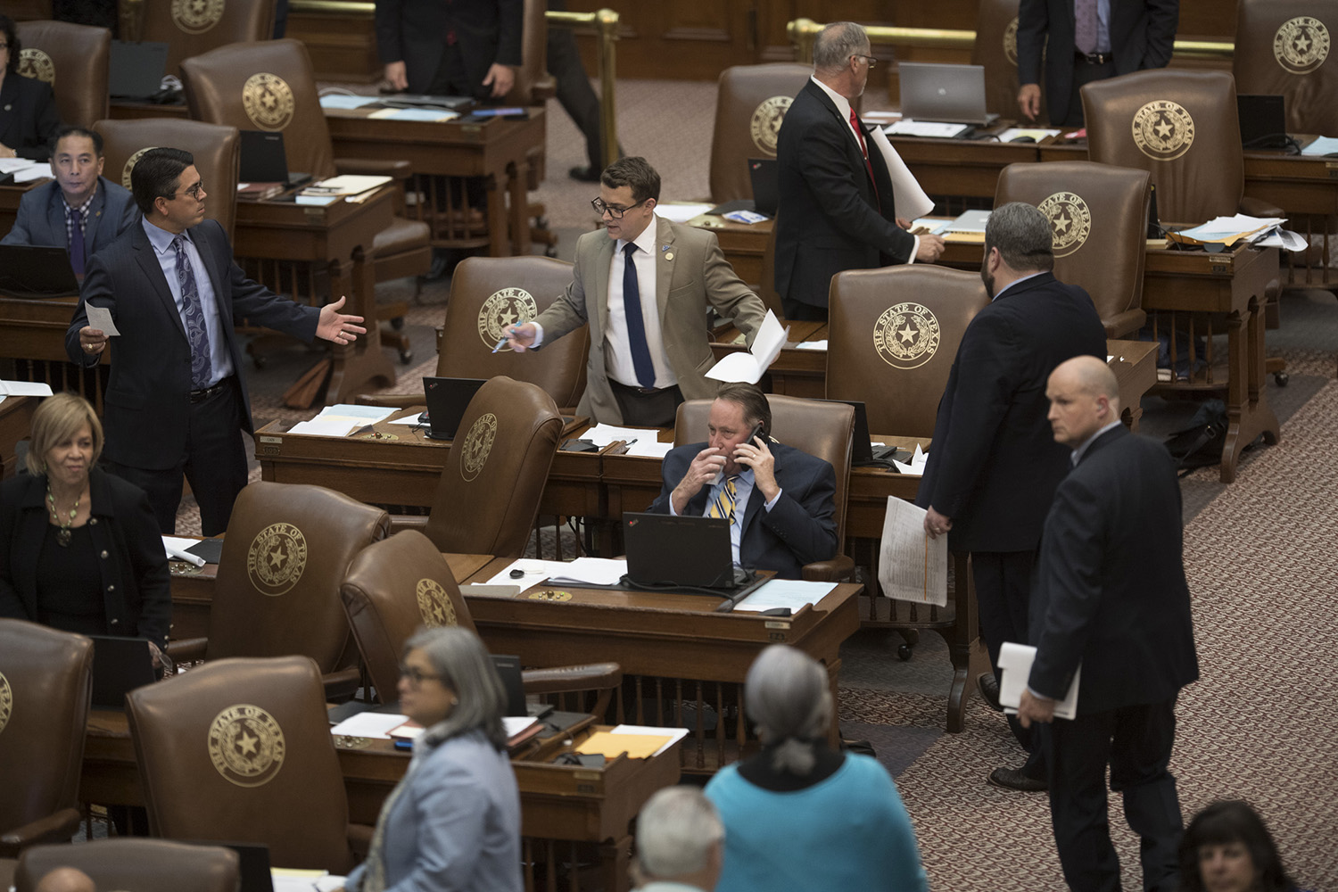 9:50 p.m. Arguments break out on the House floor.