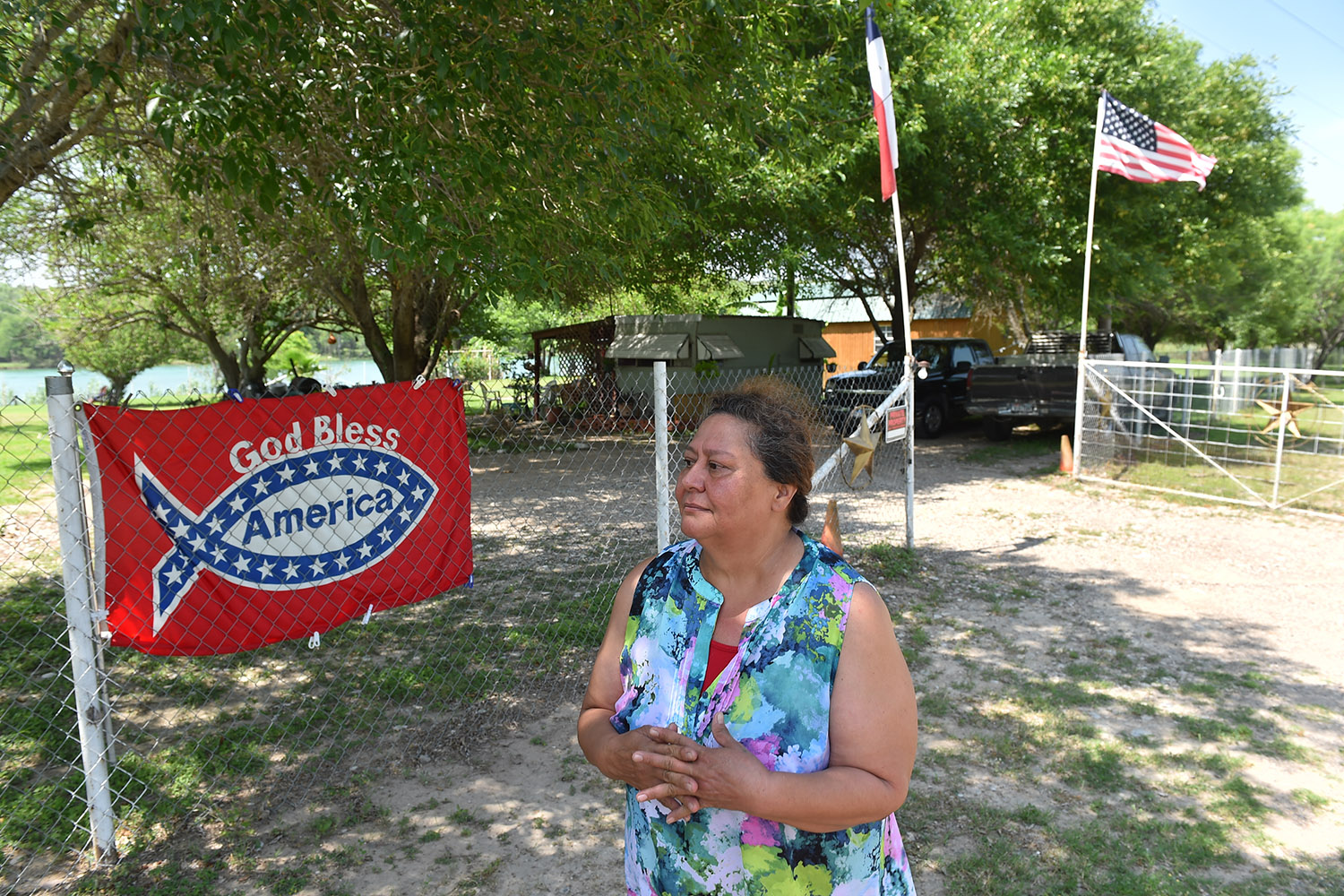 Maria Villarreal at her riverfront property in Val Verde County. Like some of her neighbors, Villarreal fears what President Trump's planned border wall means for her property.