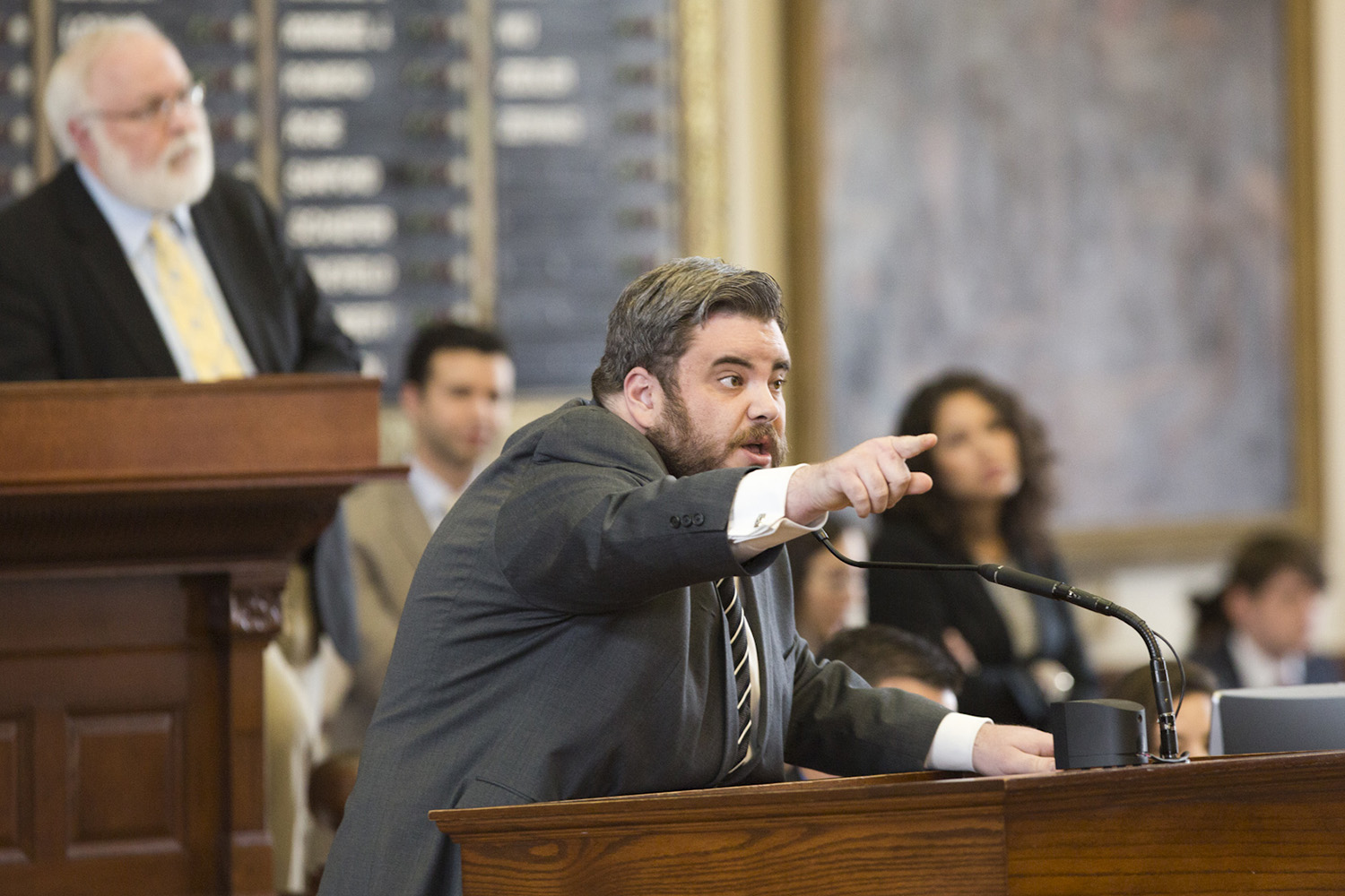 State Rep. Jonathan Stickland, R-Bedford, in a heated debate with Rep. Dennis Bonnen, R-Angleton, about property tax legislation on May 20, 2017.
